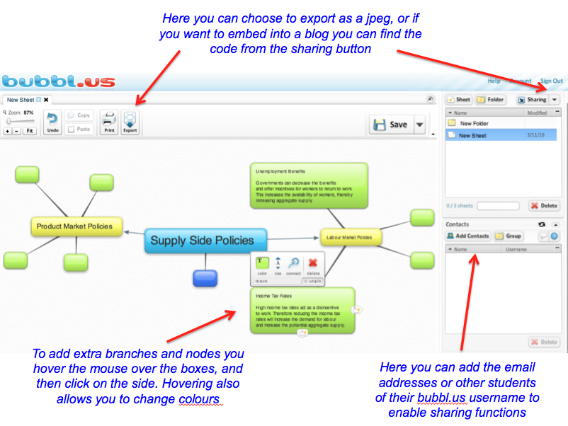 the mindmap can be adjusted as the thinking evolves changing colours shifting nodes and adding new connections here are some brief instructions on - Bubblus Mind Map